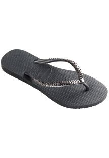 Deep grey flip-flops with metallic silver straps - Slim Metal Grega Dark Grey