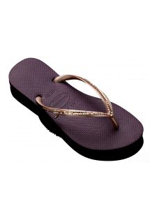 Havainanas hand made purple flip flops with decorative gold sewn onto strap - HAVAIANAS SLIM METAL MESH AUBERGINE