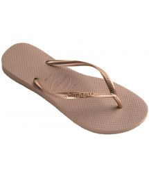 Nude colour Havaianas flip flops with rose gold strap - Slim Rose Gold