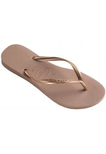Tongs Havaianas nude et brides rose doré - Slim Rose Gold