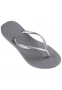 Harmaat Havaianas flopparit joilla on hopean väriset hihnat - Slim Steel Grey