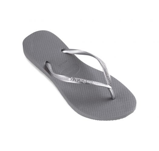 Grey Havaianas flip flops with silver straps - Slim Steel Grey