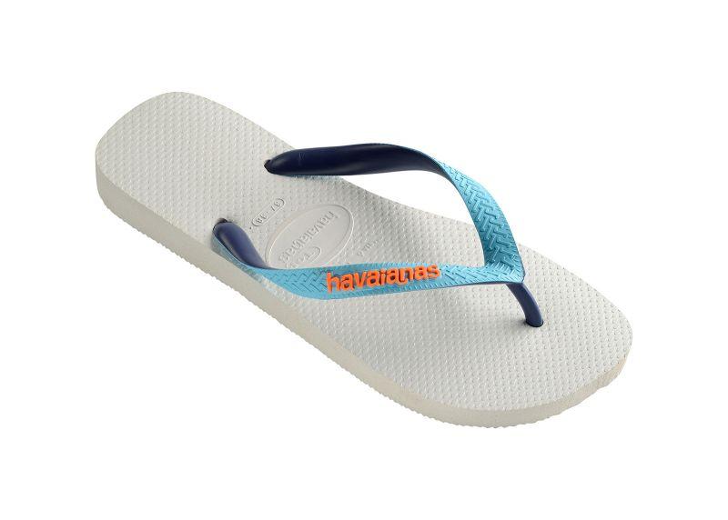 White Flip Flops - Havaianas Top Mix White/Blue/Navy