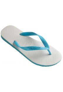 Белыe и глубоко синие двухцветные Бразильские шлепанцы - Tradicional Blue
