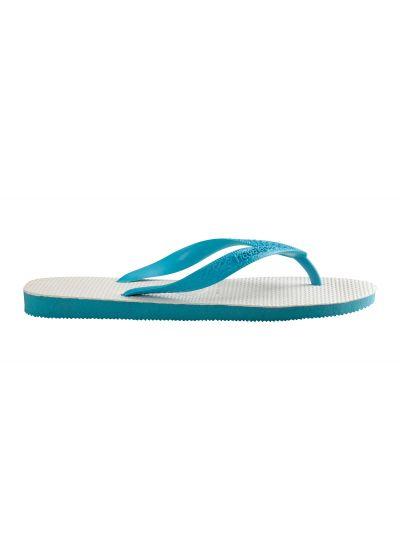 White and sky blue two-tone Brazilian flip-flops - Tradicional Blue