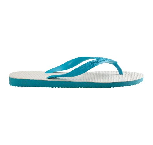 White and sky blue two-tone Brazilian flip-flops - Tradicional Blue