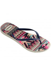 Slippers - Havaianas Slim Tribal White/Navy Blue