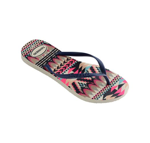 Flip-Flops - Havaianas Slim Tribal White/Navy Blue
