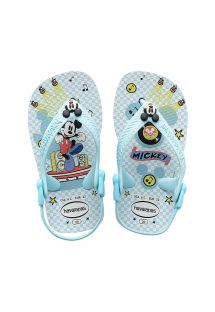 Sky-blue flip-flop sandals for children, Mickey Mouse print - Baby Mickey Minnie White/Blue