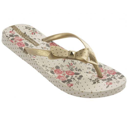Beige flip-flops with floral and polka-dot pattern - Fashion Flower - Beige/Gold