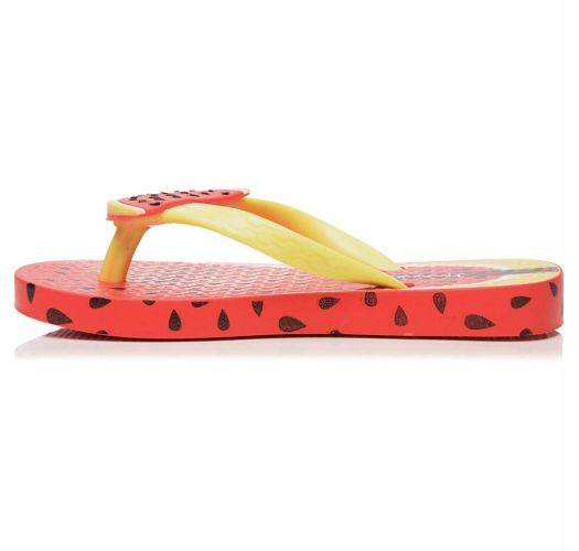 Red Flip Flops - Ipanema Tutti Frutti Kids Red/Neon Green