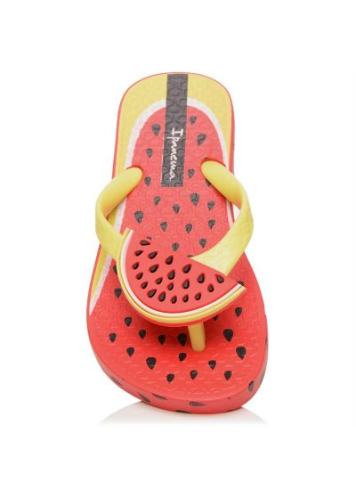Red Flip Flops - Ipanema Tutti Frutti Kids Red/Neon Green