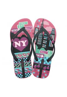 Flip-Flops - Unique III kids - Pink/Black/Green