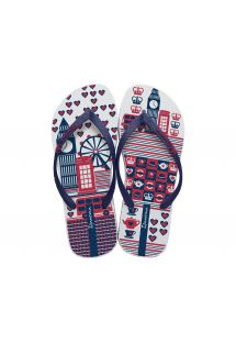 Navy blue, red and white flip-flops, England theme - Unique III - White/Blue
