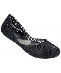 Melissa stitched, sequined, black ballet pumps - MELISSA CAMPANA PAPEL  - BLACK GLITTER