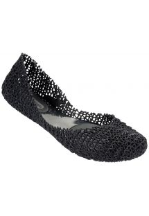 Melissa stitched, sequined, black ballet pumps - MELISSA CAMPANA PAPEL  - BLACK GLITTER