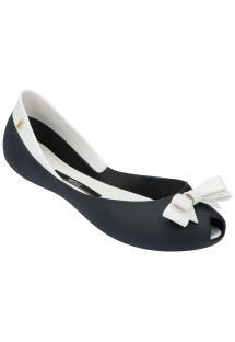 Two-tone black and white ballet flats with bow - MELISSA QUEEN - BLACK-WHITE