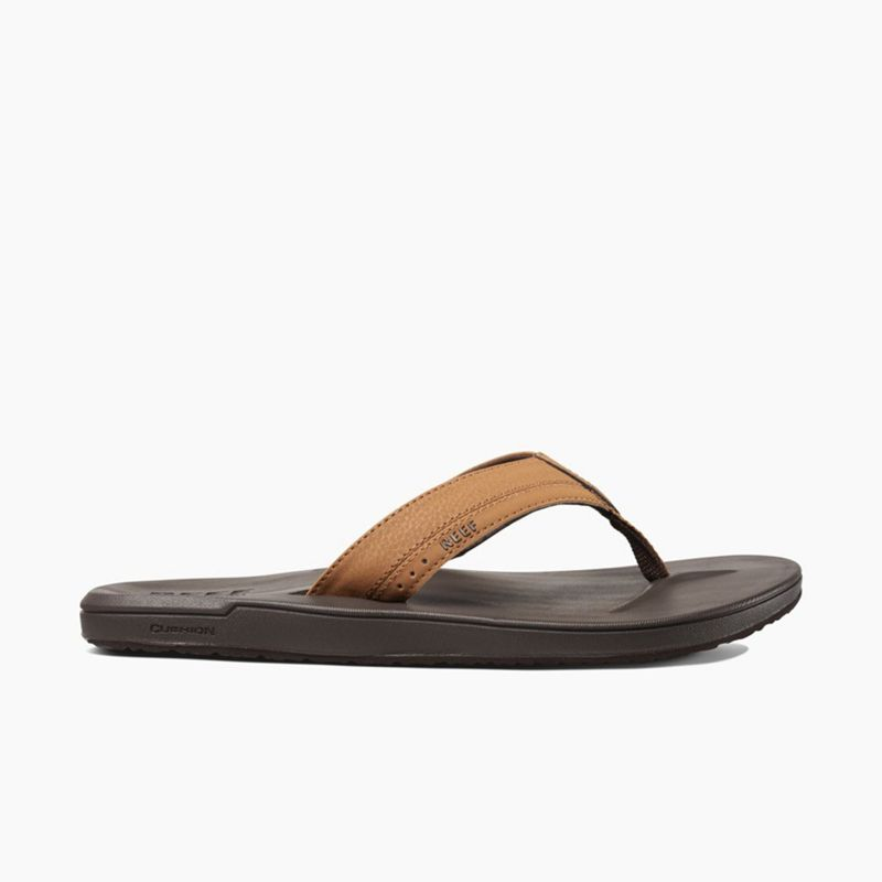 Brown comfortable flip flops with molded sole - CONTOURED CUSHION BROWN