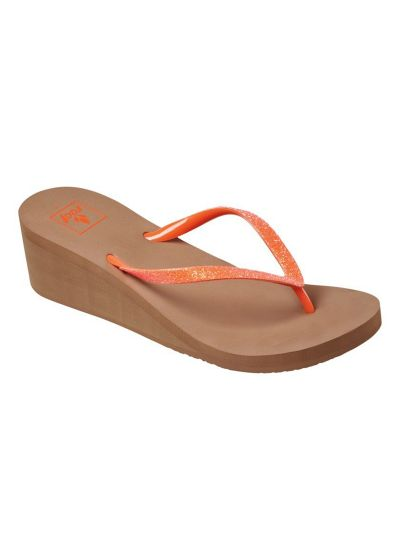 Comfortable coral shiny wedge thongs - KRYSTAL STAR FLAME