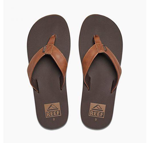 Brown vegan leather flip-flops with EVA soles - REEF TWINPIN BROWN