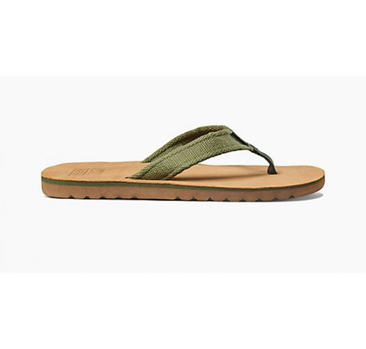 Men`s leather flip flops and wide khaki fabric stripes - REEF VOYAGE TX BROWN/OLIVE