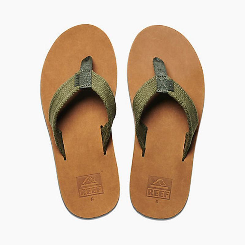 Men's leather flip flops and wide khaki fabric stripes - REEF VOYAGE TX BROWN/OLIVE