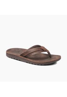 Dark brown leather flip flops anatomical sole - VOYAGE LUX DARK BROWN