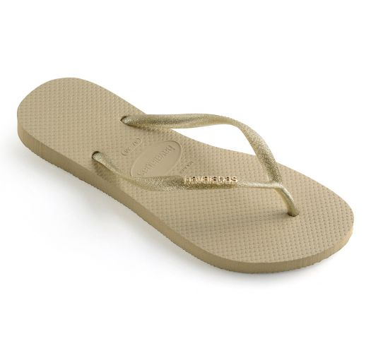 4d09db2a324091 Flip-Flops Slim Logo Metallic Sand Grey-light Golden - Brand Havaianas