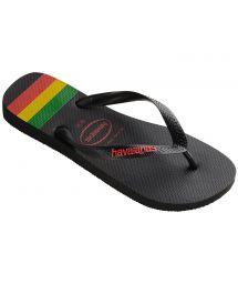 Black Flip Flops - Havaianas Top Stripes Logo Black/Ruby Red