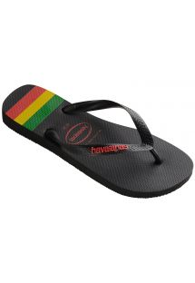 Chanclas Negras - Havaianas Top Stripes Logo Black/Ruby Red