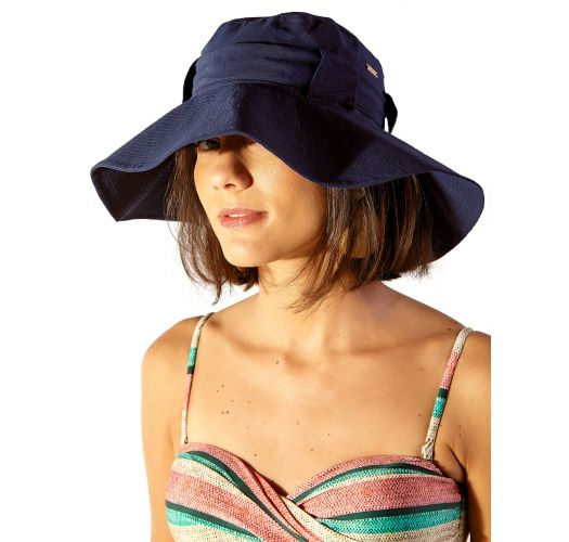 Navy soft hat with knotted ribbon - CHAPEU DORA UV