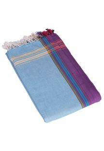 Blue and violet pareo with fringing in 100% cotton, 165x95cm - KIKOY PAREO AMANI