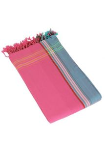 Pink and blue pareo with fringing in 100% cotton, 165x95cm - KIKOY PAREO HIBISCUS