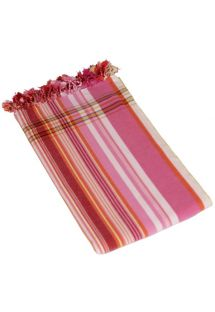 Pink striped pareo in 100% cotton, 165x95cm - KIKOY PAREO JAMBO