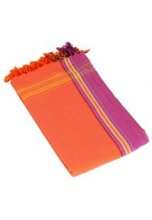 Orange pareo with fringing in 100% cotton, 165x95cm - KIKOY PAREO MANGO