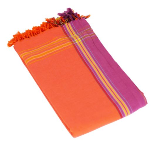 Orange pareo with fringing in 100% cotton, 165x95cm - KIKOY PAREO MANGO