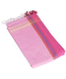 Pink pareo with fringing in 100% cotton, 165x95cm - KIKOY PAREO NAPENDA