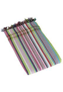 Multicoloured striped pareo in 100% cotton, 165x95cm - KIKOY PAREO SERENGETI