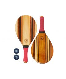 Set of wooden beach bats - red - LEBLON BEACH BAT RED