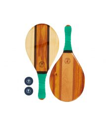 Set of wooden beach bats - green - TRANCOSO BEACH BAT LEAF GREEN