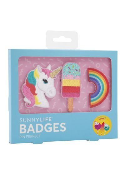 Set med 3 leksaker: enhörning / glass / regnbåge - BADGES SWEET TOOTH
