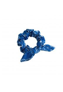 Blue bandana hair scrunchie with a knot - BANDANA BLUE SCRUNCHIE