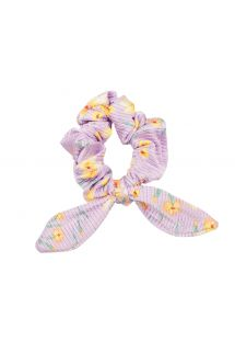 Pastel floral textured scrunchie with a bow - CANOLA SCRUNCHIE