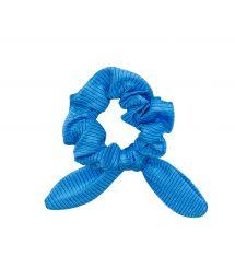 Blue textured scrunchie with a bow - EDEN-ENSEADA SCRUNCHIE