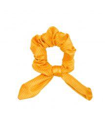 Yellow textured scrunchie with a bow - EDEN-PEQUI SCRUNCHIE