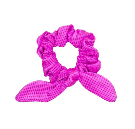 Scrunchie-Haargummi magentafarben texturiert mit Schleife - EDEN-PINK SCRUNCHIE