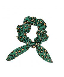 Scrunchie with green leopard print bow - ROAR-GREEN SCRUNCHIE