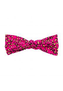Headband with pink leopard print bow - ROAR-PINK KNOT HEADBAND