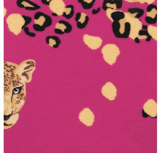Stirnband rosagrundig mit Leoparden-Motiv und Schleife - ROAR-PINK KNOT HEADBAND