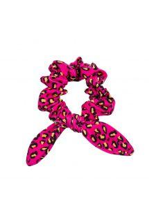 Scrunchie with pink leopard print bow - ROAR-PINK SCRUNCHIE